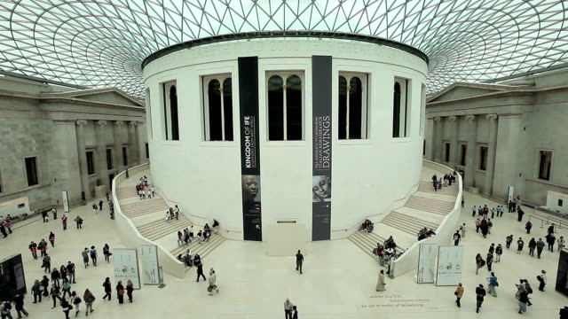 view of great hall british museum - british culture stock videos & royalty-free footage