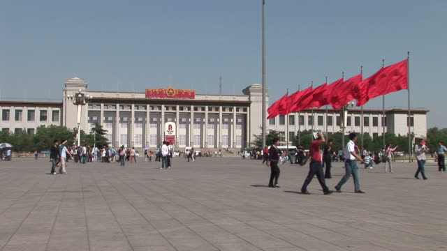 view of great hall of people in tiananmen square beijing china - tiananmen square stock videos and b-roll footage
