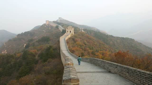 ws view of great wall of china badaling / yanqing, china  - unesco world heritage site stock videos & royalty-free footage