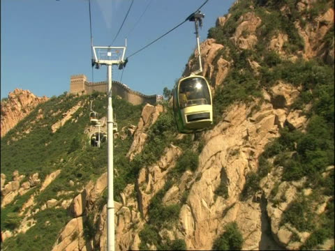 view of great wall of china from rear of cable car, point of view, pov, badaling, china - badaling stock videos & royalty-free footage