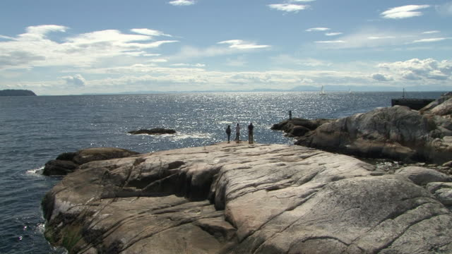 vidéos et rushes de ws view of greater vancouver area and lighthouse park / vancouver, british columbia, canada  - petit groupe de personnes