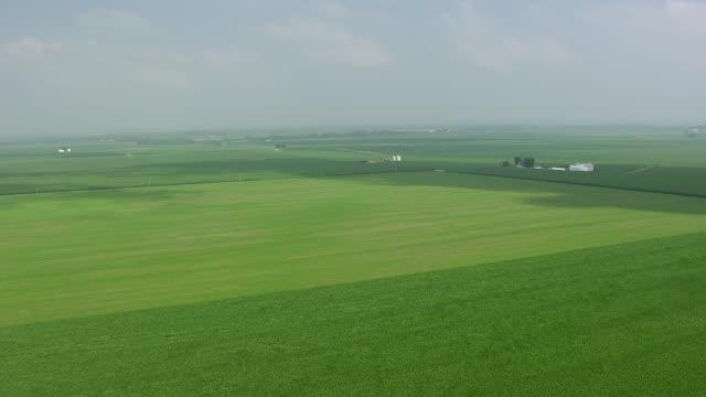 WS AERIAL POV View of green farm land / Vigo County, Terra Haute, Indiana, United States