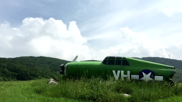 View of green model plane on Daegwallyeong Sky Ranch (popular travel destination)