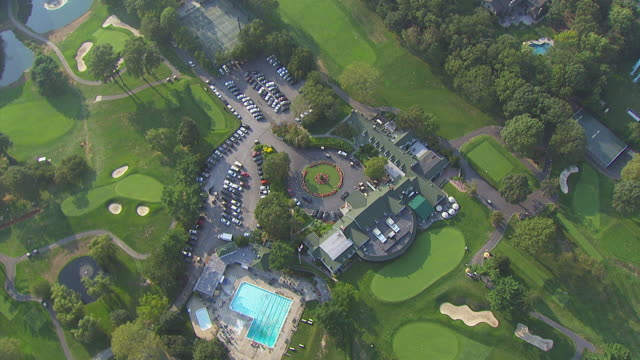 WS AERIAL TS View of green space and golf course / New York, United States