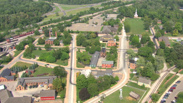 ws aerial view of greenfield village buildings and streetscape at henry ford museum / dearborn, michigan, united states - michigan stock videos & royalty-free footage