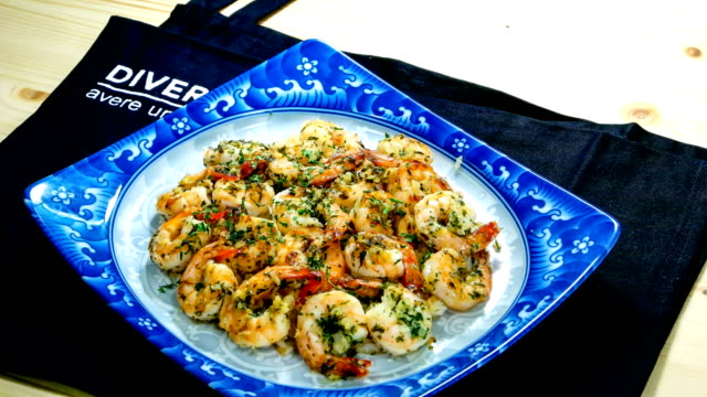 View of grilled garlic butter shrimp