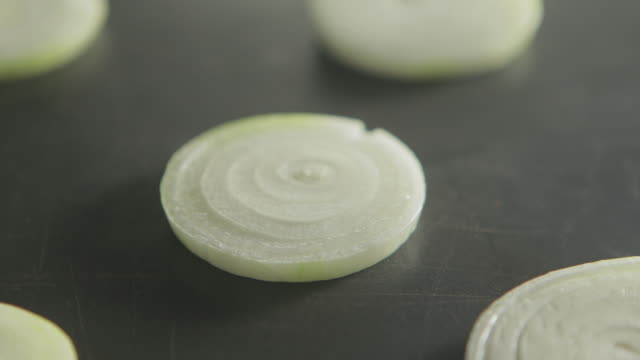 View of grilling the onion slices