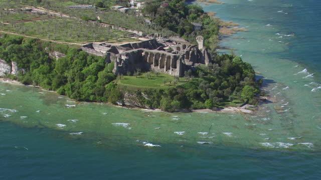 WS ZO AERIAL View of grotte di catullo / Lake Garda, Trentino, Verona, Brescia