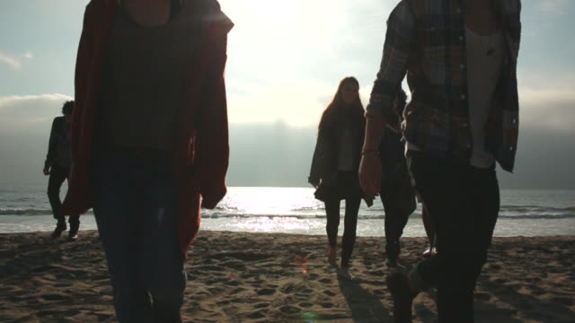 WS SLO MO View of group of young people on beach at sunset, walking towards / Venice, California, United States