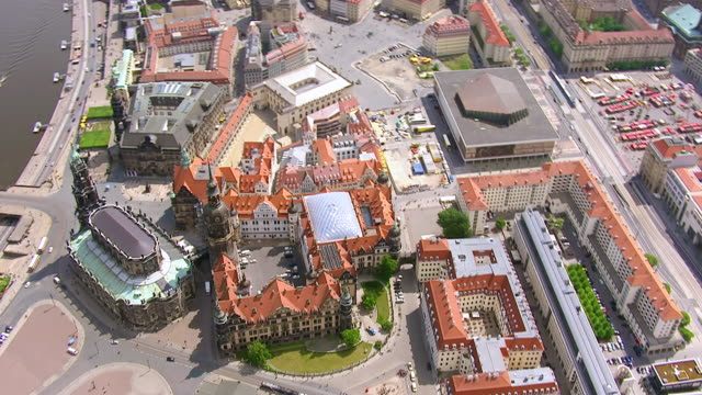 ws aerial ts zo view of grunes gewolbe with pedestrian and small river in city / dresden, saxony, germany - museum stock videos & royalty-free footage