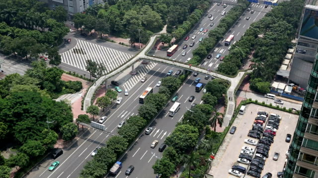 t/l ms ha view of guangzhou avenue / guangzhou, china - 2014 stock videos and b-roll footage