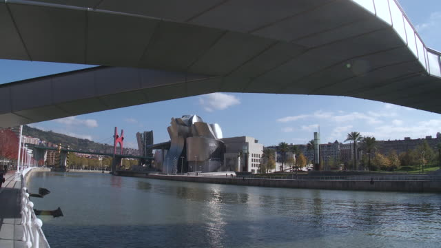 MS View of Guggenheim Museum and Nervion river at Bridge / Bilbao, Biscaye, Spain