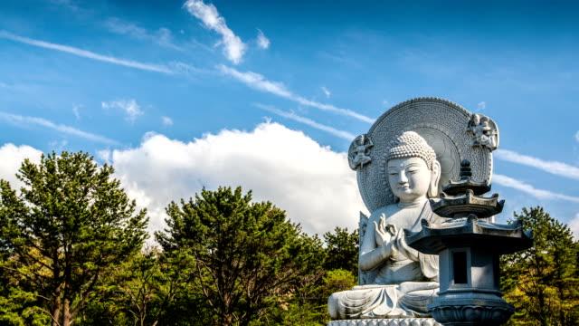 view of gwaneumsa(buddhist temple) at jeju island - figura maschile video stock e b–roll