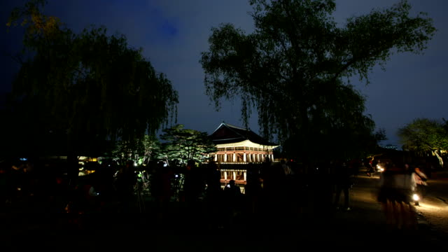 View of Gyeonghoeru pavilion (National Treasures of South Korea 224) in Gyeongbokgung Royal Palace (Korean National Treasure 223) at night