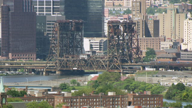 MS AERIAL ZO View of Hack path Lift Bridge over Hackensack river / New Jersey, United States