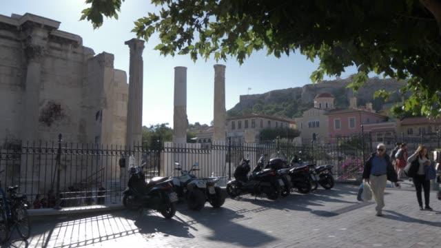 view of hadrian's library, monastiraki district, athens, greece, europe - greece stock videos & royalty-free footage