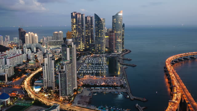 WS T/L View of Haeundae Centum City Area in Busan / Busan, South Korea