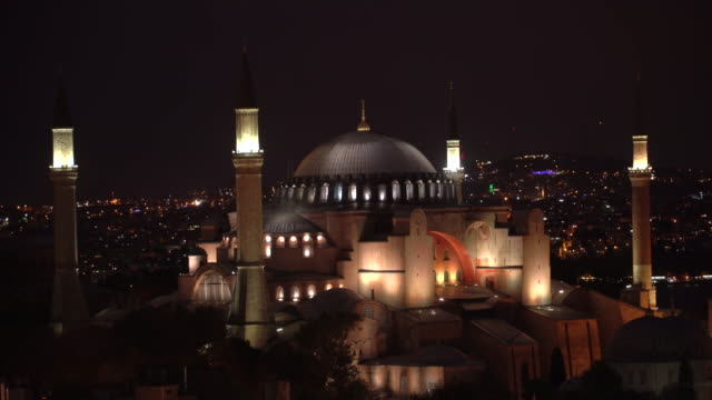 view of hagia sophia, christian patriarchal basilica, imperial mosque, museum - minaret stock videos & royalty-free footage