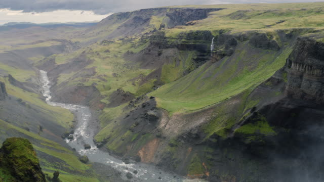 view of haifoss waterfall in iceland - valley stock videos & royalty-free footage