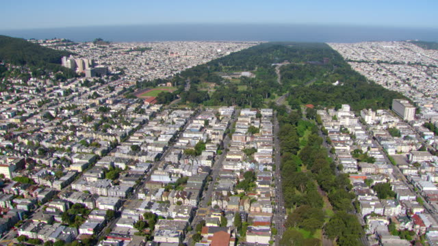 ws aerial view of haight ashbury neighborhood and golden gate park / san francisco, california, united states - haight ashbury stock videos & royalty-free footage