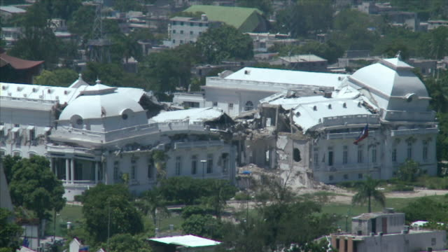 ws view of haitian national palace destroyed after the 2010 earthquake / haiti - haiti stock videos & royalty-free footage