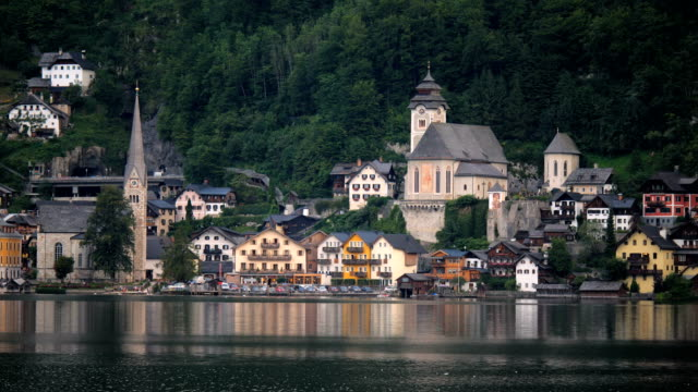 View of Hallstatt across lake at daytime