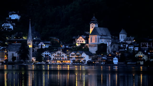 View of Hallstatt across lake at night
