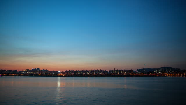 WS T/L View of Han River at night / Seoul, South Korea
