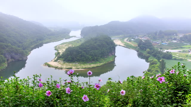 View of Hanbando Geography and Donggang river near Seonammaeul village (Famous tourist attractions)