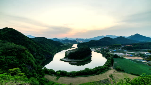 View of Hanbando Geography (famous tourist attraction) and Pyeongchanggang River at sunset