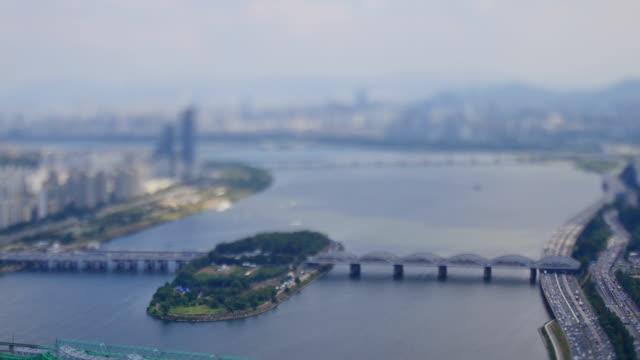 vidéos et rushes de view of hangang bridge and nodeulseom island - fondu d'ouverture