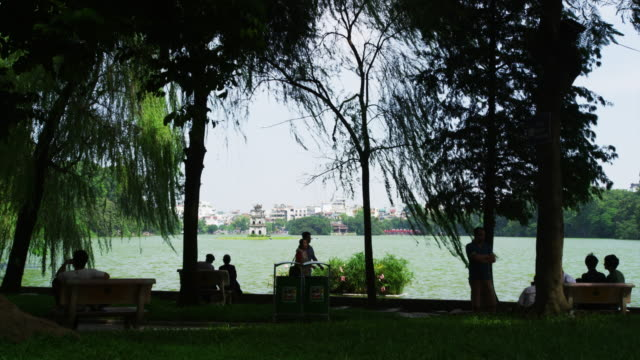 view of hanoi hoan kiem lake district - hanoi stock videos and b-roll footage