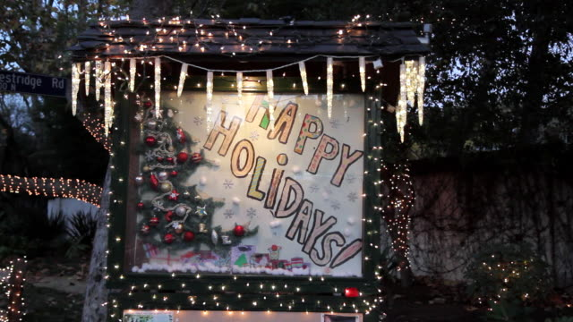 zi cu view of 'happy holidays' street decoration in westside los angeles / los angeles, california - happy holidays stock videos & royalty-free footage