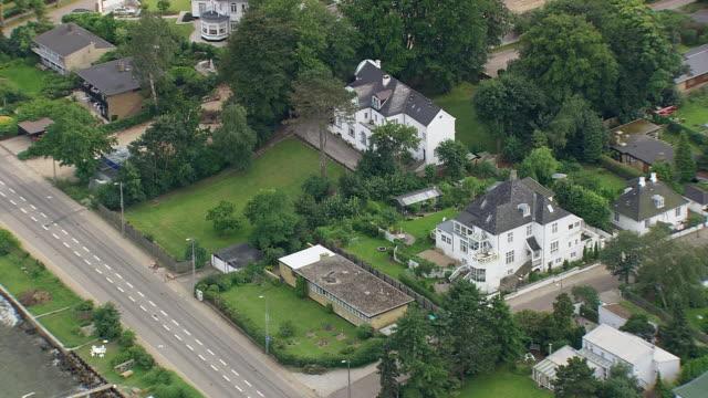 ws aerial view of harbor and houses of louisiana / frederiksborg, denmark - louisiana stock videos & royalty-free footage