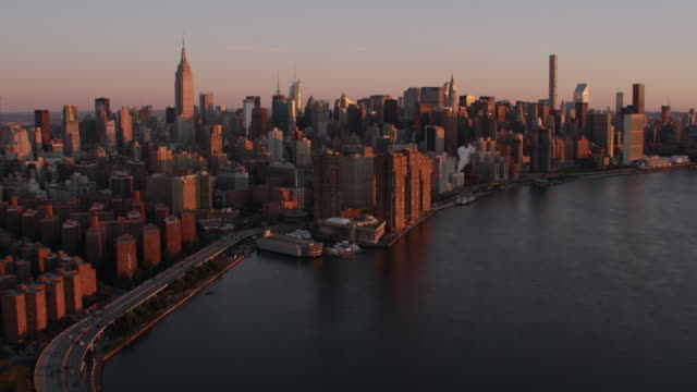 AERIAL MS View of harbor and hudson river at morning / New York City