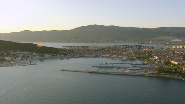 WS AERIAL View of harbor and mountains / Split, Split Dalmatia County, Croatia