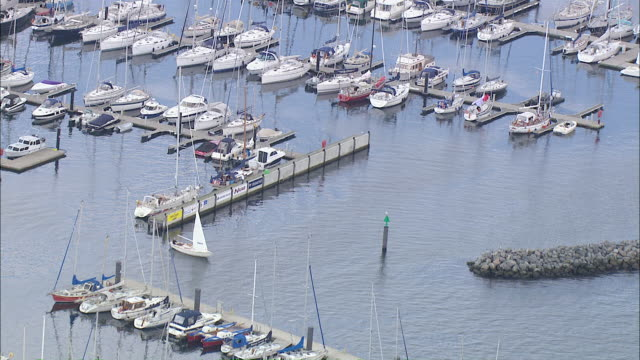 aerial ws view of harbor / kiel canal,schleswig-holstein, germany - schleswig holstein stock-videos und b-roll-filmmaterial