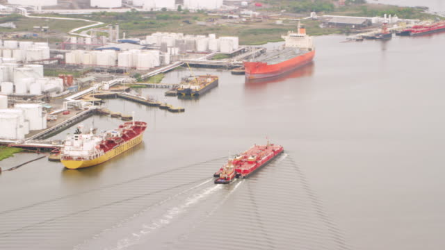 WS ZI AERIAL View of harbor with ships / New York City
