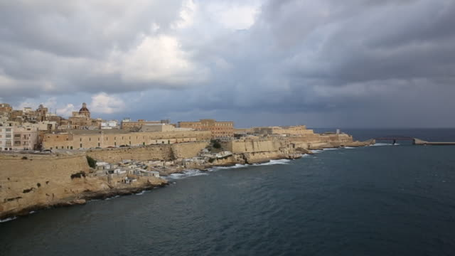 view of harbour and historic port, valletta - valletta stock videos & royalty-free footage