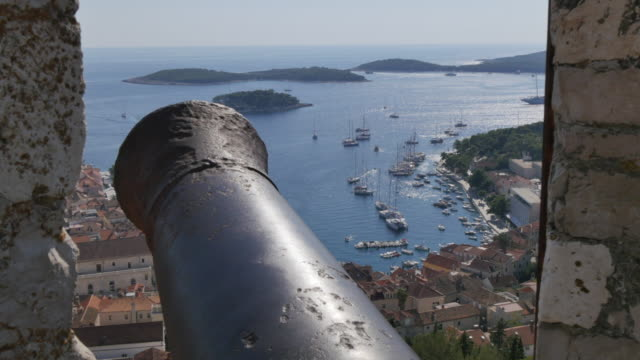 View of harbour and town from the Fortress above the town, Hvar, Hvar Island, Dalmatia, Croatia, Europe
