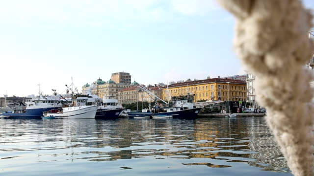view of harbour, boats and historic city, rijeka - croatia stock videos & royalty-free footage