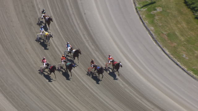 WS AERIAL TS ZO View of harness race start at Freehold Raceway / New Jersey, United States