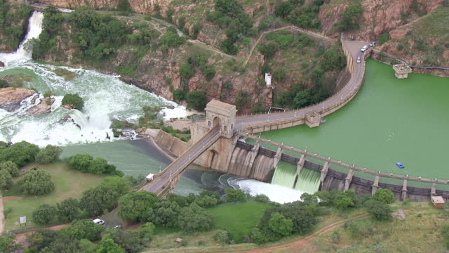WS AERIAL View of Hartebeespoort dam and its flood gates / Johannesburg, Gauteng, South Africa