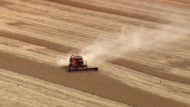 ws aerial view of harvesting in field with machine / brazil - コンバイン点の映像素材/bロール