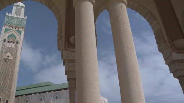 ms pan view of hassan mosque  /casablanca, unspecified, morocco - casablanca morocco stock videos & royalty-free footage