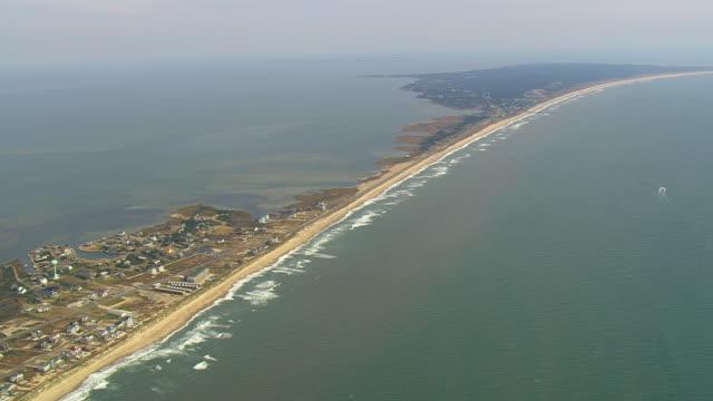 ws aerial view of hatteras / north carolina, united states - north carolina beach stock videos & royalty-free footage