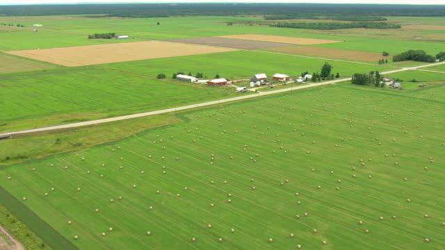 vídeos y material grabado en eventos de stock de ws aerial view of hay bails in field in upper peninsula in chippewa county / michigan, united state - paisaje mosaico