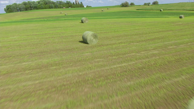 ws td aerial pov view of hay bale on farmland with grain silo in background / butler county, iowa, united states - hay background stock videos & royalty-free footage
