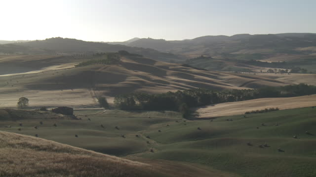 ws view of haystack in field on undulating landscape at sunset / pienza, tuscany, italie - haystack stock videos & royalty-free footage