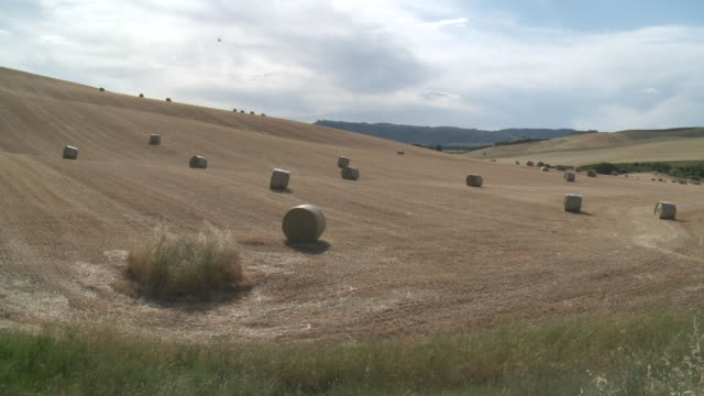 stockvideo's en b-roll-footage met ws view of haystacks in field / lecce, puglia, italie - hooi
